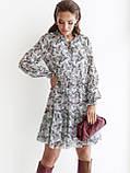 Шифонова сукня-міні з довгим рукавом, фото 2