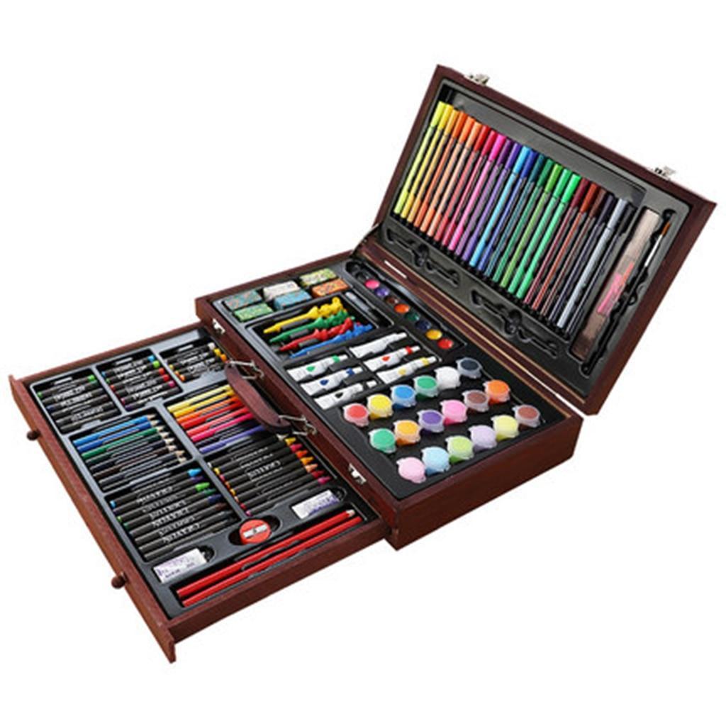 Набор для рисования в деревянном чемодане LEWEIHUAN №1187