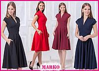 Стильное весенне-летнее платье длины миди с V-образным вырезом! (Красное, Черное, Темно-синее, Бордо)