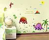 Интерьерная виниловая наклейка  на стену Динозавры большие (размер 240х130 см)