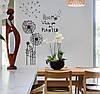 Декоративная виниловая наклейка стикер Одуванчики (размер 100х80 см)