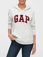 Женская толстовка худи GAP с капюшоном art264237 (Серый/Красный, размер XS)