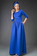 """Длинное вечернее платье из неопрена """"Penelope"""" с карманами (3 цвета)"""