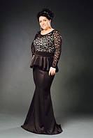 """Линное вечернее платье """"Janet"""" с баской и гипюровым верхом (большие размеры)"""