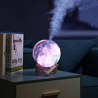Зволожувач Повітря і Світильник у вигляді Космосу 2 в 1 3D Moon Light, фото 1