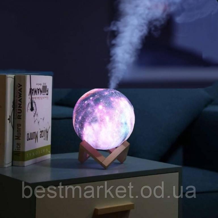 Зволожувач Повітря і Світильник у вигляді Космосу 2 в 1 3D Moon Light