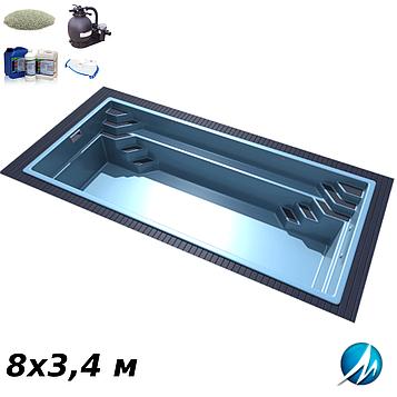 Комплект оборудования для стекловолоконного бассейна 8х3,4 м