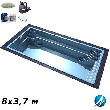 Комплект оборудования для стекловолоконного бассейна 8х3,7 м
