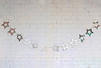 Бумажная гирлянда Звёзды золото/серебро 1,5 метра -