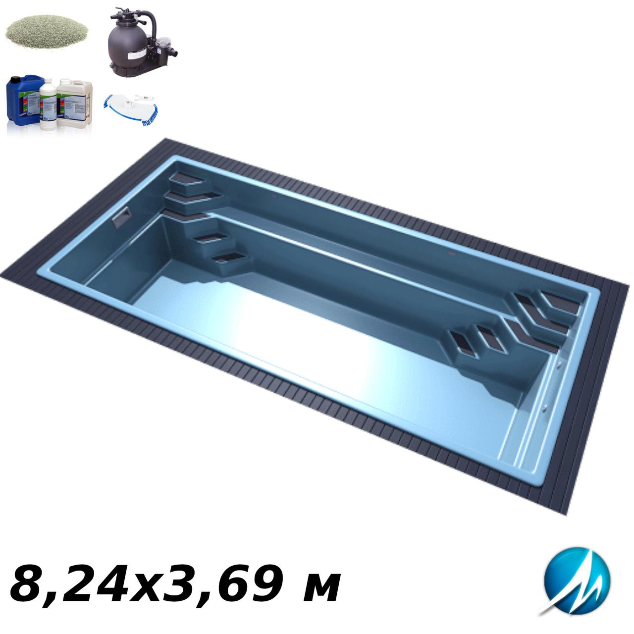 Комплект оборудования для стекловолоконного бассейна 8,24х3,69 м