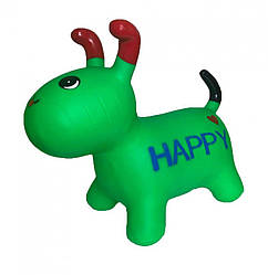 Детская игрушка прыгун Собака Bambi качественная резина, 25х40х20 см, зеленый