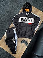 Спортивный костюм мужской Nasa черный с лампасами весенний осенний   Комплект Худи + Штаны Наса ЛЮКС качества