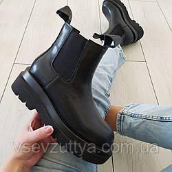 Ботинки челси женские черные натуральная кожа 36р
