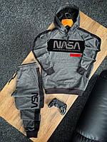 Спортивный костюм мужской Nasa темно-серый с лампасами весенний осенний | Худи + Штаны Наса ЛЮКС качества