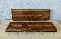 Настенная полка для книг и декора из дерева с невидимым креплением брашированная под старину 690х200х35 мм., фото 2