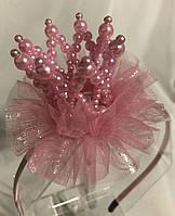 Обруч Перлова рожева корона на подарунок дівчинці, фото 1