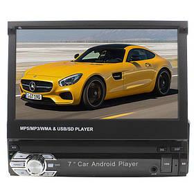 Автомобільна магнітола Lesko 9601A з висувним екраном 7 дюймів, сенсорний 1din WiFi GPS Android 5 + Подарунок