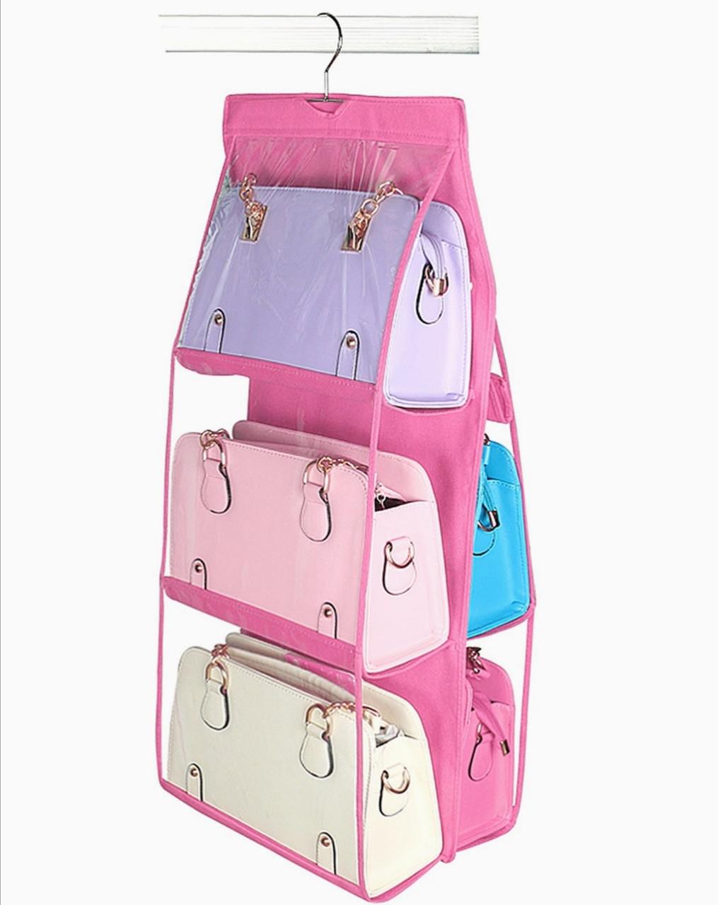 Подвесной органайзер на 6 отделений розового цвета для хранения сумок и мелких предметов одежды