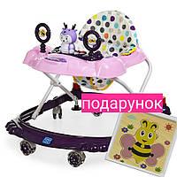 Детские ходунки для девочки СИЛИКОНОВЫЕ КОЛЕСА блокировка колес M 3168 Музыкальные ходунки