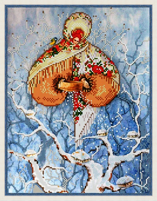Вышивка бисером, Канва цветы времена года Зима