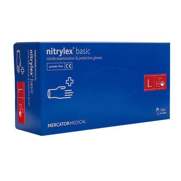 Рукавички нітрилові Mercator Medical nitrylex (упаковка 100 шт) розмір L сині