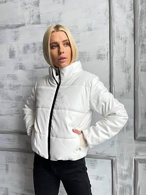 Куртка модная женская из экокожи белая