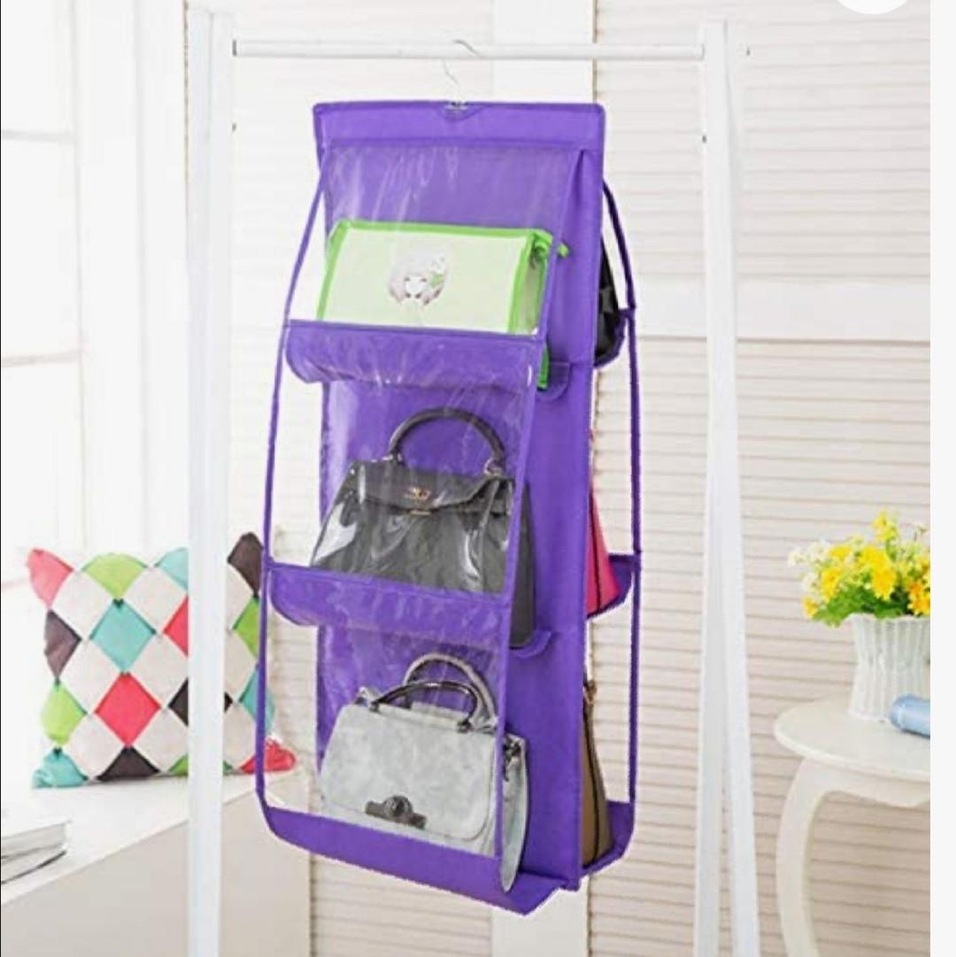 Підвісний органайзер на 6 відділень фіолетового кольору для зберігання сумок і дрібних предметів одягу