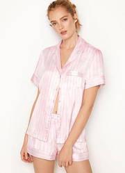 Сатиновая пижама с шортами Victoria's Secret Satin Short PJ Set, Розовая в полоску