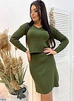 Повсякденний жіночий костюм з укороченою кофтою і спідницею з розрізом з 48 по 52 розмір, фото 2