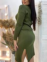 Повсякденний жіночий костюм з укороченою кофтою і спідницею з розрізом з 48 по 52 розмір, фото 4
