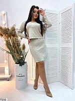 Повсякденний жіночий костюм з укороченою кофтою і спідницею з розрізом з 48 по 52 розмір, фото 6