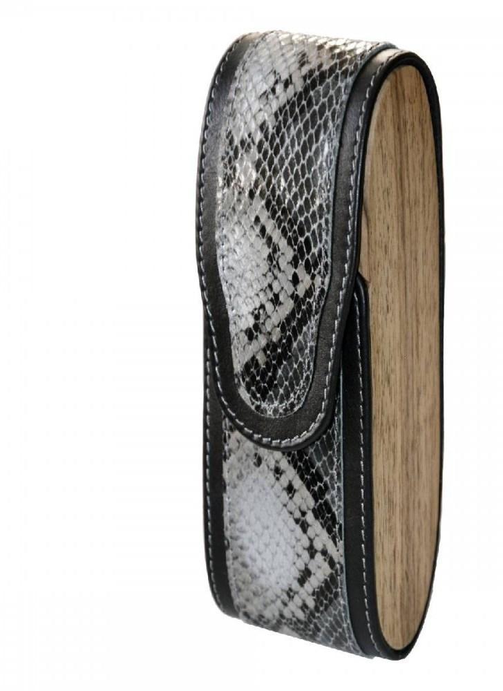 Вертикальний футляр для захисту очок з натуральної шкіри і натурального дерева