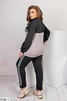 Трикотажный прогулочный костюм с контрастной вставкой и лампасами с 50 по 60 размер, фото 4