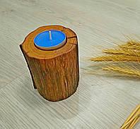 Подсвечник деревянный с ароматной свечей обработан натуральным маслом