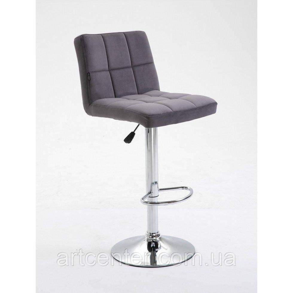 Барне крісло Sity, крісло для візажиста з регулюванням по висоті, хромована основа, велюр