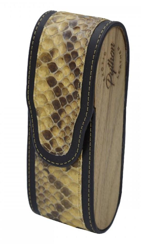 Вертикальний футляр для зберігання окулярів з натуральної шкіри пітона і натурального дерева