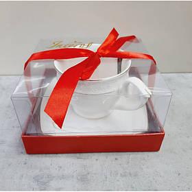 Чашка с блюдцем 280 мл круглая фарфоровая белая Снежная королева Interos S506710-AGIFT 73064