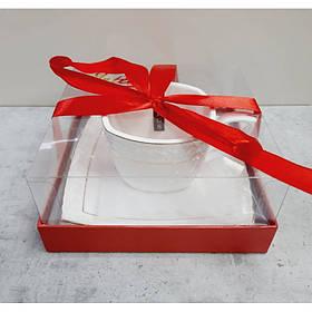 Чашка с блюдцем 240 мл квадратная фарфоровая белая Снежная королева Interos S507009-AGIFT 73059
