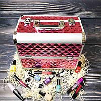 Чемодан для косметики, маникюра, визажистов (светло-розовый (крупный ромб))