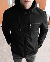 Куртка мужская Spring черная весенняя осенняя демисезонная | Ветровка мужская с капюшоном ЛЮКС качества