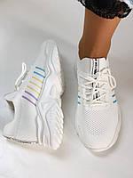Стильные женские кеды-кроссовки белые. Вязанный текстиль с сеткой. Размер. 36.37.38 39.40, фото 8