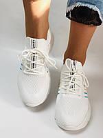 Стильные женские кеды-кроссовки белые. Вязанный текстиль с сеткой. Размер. 36.37.38 39.40, фото 9