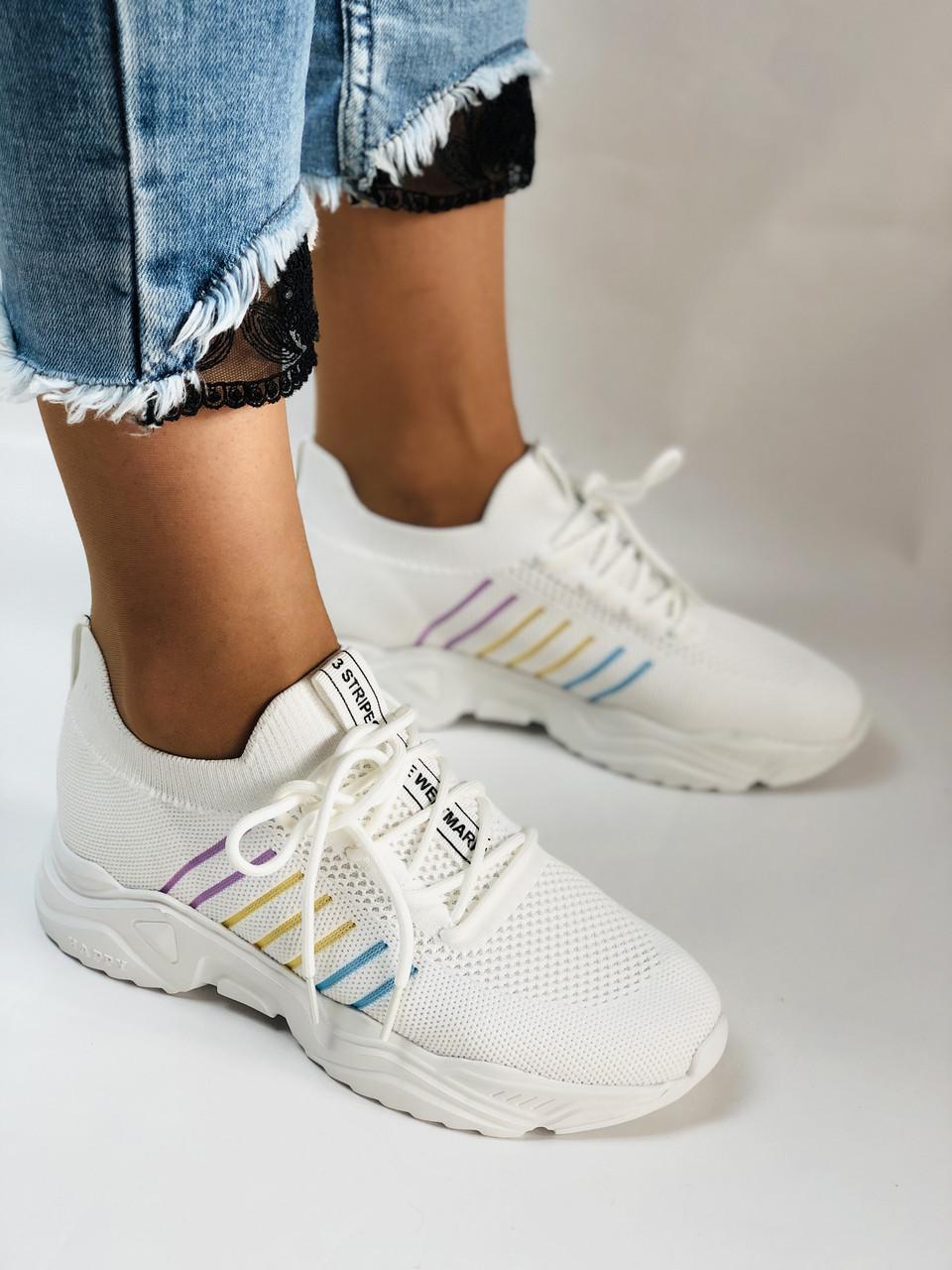 Стильные женские кеды-кроссовки белые. Вязанный текстиль с сеткой. Размер. 36.37.38 39.40