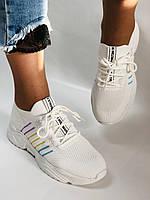 Стильные женские кеды-кроссовки белые. Вязанный текстиль с сеткой. Размер. 36.37.38 39.40, фото 6