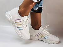 Стильные женские кеды-кроссовки белые. Вязанный текстиль с сеткой. Размер. 36.37.38 39.40, фото 7