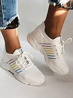 Стильные женские кеды-кроссовки белые. Вязанный текстиль с сеткой. Размер. 36.37.38 39.40, фото 2