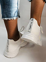 Стильные женские кеды-кроссовки белые. Вязанный текстиль с сеткой. Размер. 36.37.38 39.40, фото 4