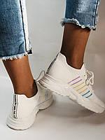 Стильные женские кеды-кроссовки белые. Вязанный текстиль с сеткой. Размер. 36.37.38 39.40, фото 5