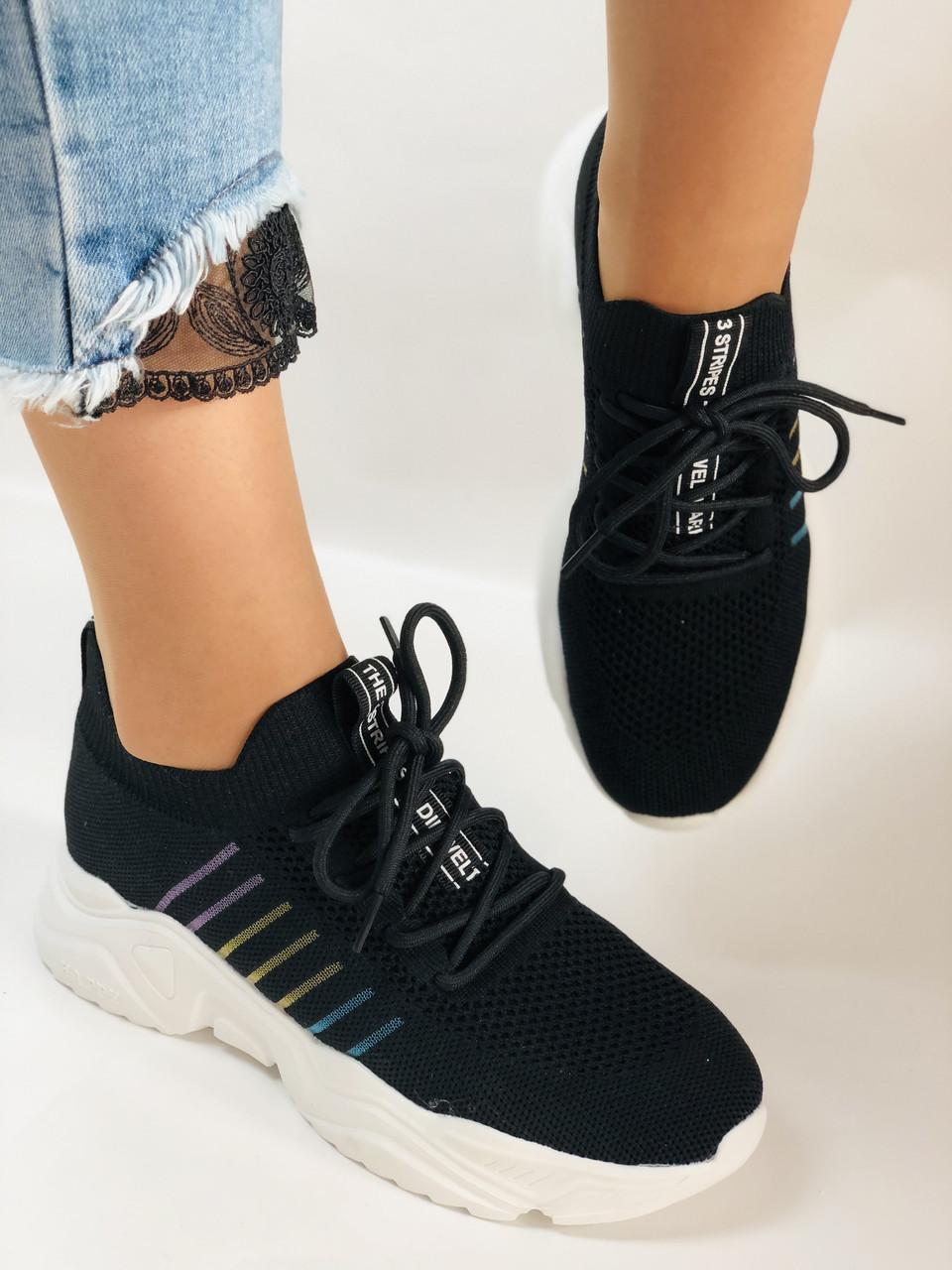 Летние женские кеды-кроссовки черные. Вязанный текстиль с сеткой. Размер 36.37.38.39.