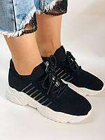 Летние женские кеды-кроссовки черные. Вязанный текстиль с сеткой. Размер 36.37.38.39., фото 2